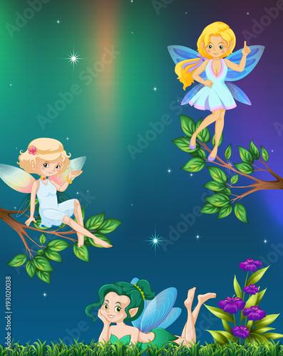 Aluminium Kids Three fairies flying in garden at night