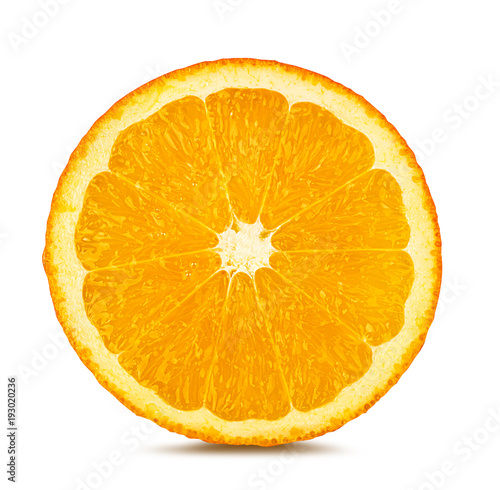 Juicy orange slices isolated on white background with clipping path