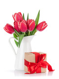 Red tulip flowers bouquet and gift box - 193020876