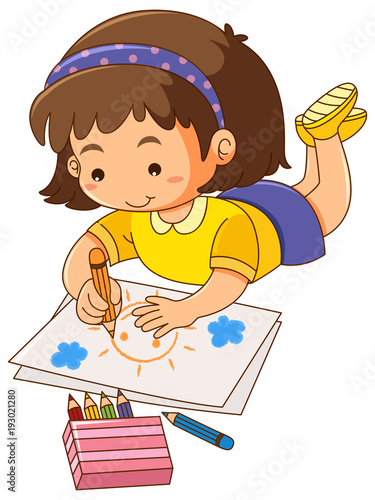 Deurstickers Kids Little girl drawing sun on paper