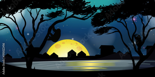 Poster Zwart Silhouette scene with buildings and lake at night
