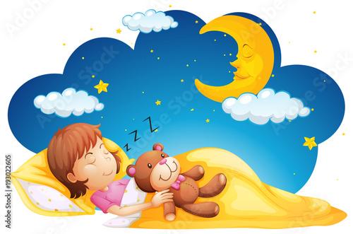 Papiers peints Jeunes enfants Little girl sleeping with teddybear