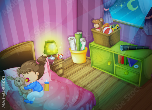 Papiers peints Jeunes enfants Little girl sleeping with bunny doll in bedroom