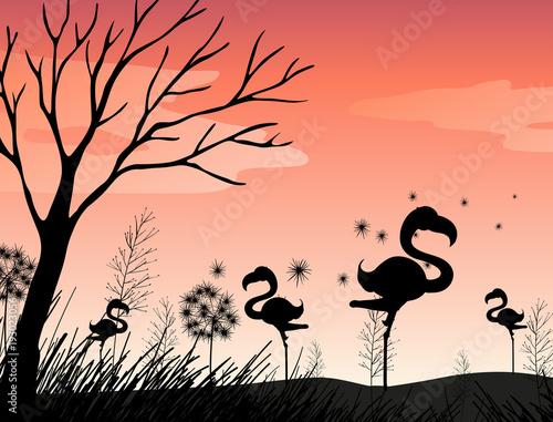 Papiers peints Jeunes enfants Silhouette scene with flamingo in the field
