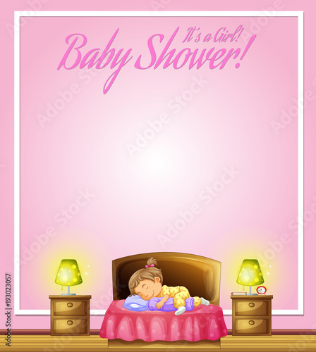 Papiers peints Jeunes enfants Background design with kid sleeping in bed