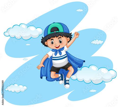 Papiers peints Jeunes enfants Happy boy with blue cape
