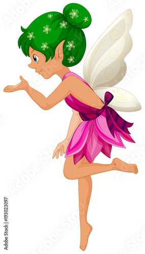 Papiers peints Jeunes enfants Cute fairy in purple dress with white wings