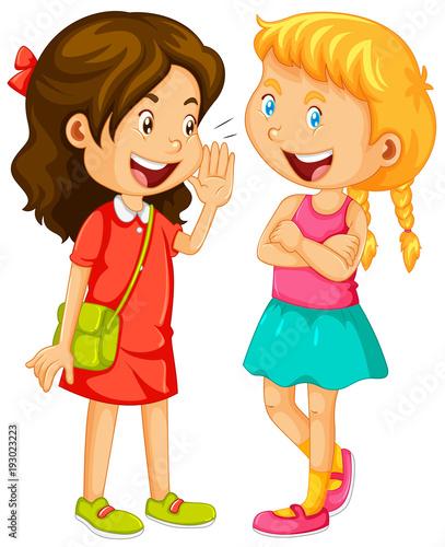 Papiers peints Jeunes enfants Two girls gossipping on white background