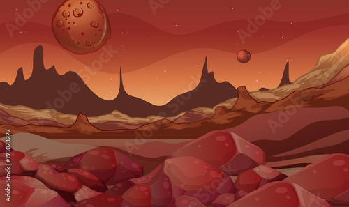 Fotobehang Diepbruine Background scene with red planet