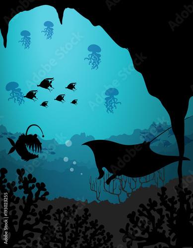 Papiers peints Jeunes enfants Silhouette scene with sea creatures underwater