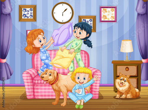 Papiers peints Jeunes enfants Three girls and two dogs in living room