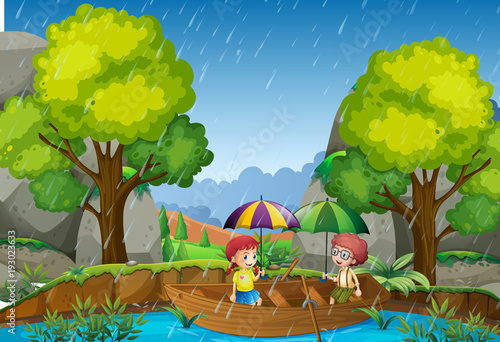 Papiers peints Jeunes enfants Rainy day with girl and boy in the park