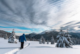 Alone tourist in the high mountains in winter time. Active travel concept. Carpathian mountains. Landscape photography - 193023831