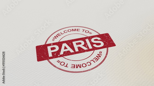 Wall mural WELCOME TO PARIS stamp red print on the paper. 3D rendering