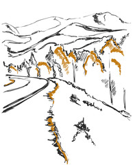 A path in the mountains sketch. Background with forest and hill © pylypchuk25