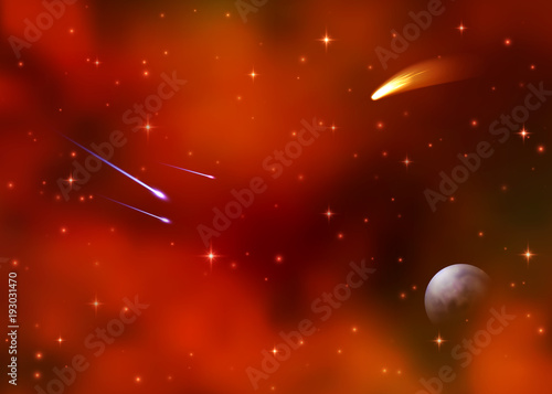 Cosmic red galaxy background. Colorful nebula, milky way and bright shining stars. Outer space with falling stars comet Earth planet starburst asteroid and meteor. Sky vector illustration of Universe.