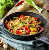 Asian egg noodles with vegetables and meat - 193037801