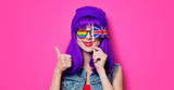 Girl with purple hair and with UK flag - 193038012