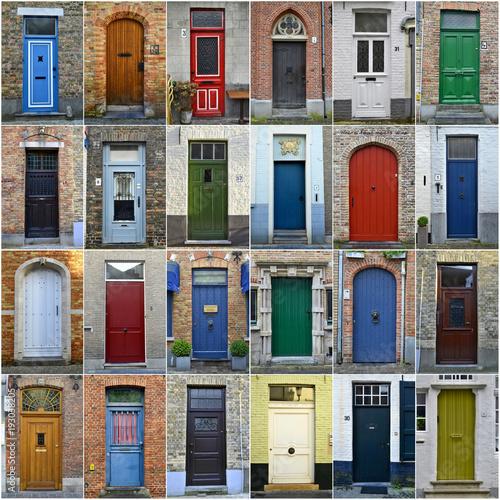 Tuinposter Brugge Collage of colorful doors in Bruges, Belgium