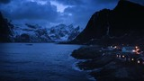 fisherman village Hamnoy by night, Lofoten Islands, Norway - 193039267