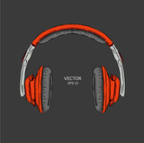 The image of the headphones. Vector illustration. - 193041417
