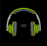 The image of the headphones. Vector illustration.