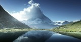 Reflection of Matterhorn in lake Riffelsee, Zermatt, Switzerland - 193041631