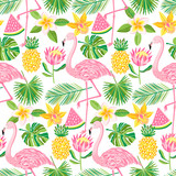 Vector tropical seamless pattern. Summer background - 193042064