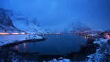 timelapse, snow in Reine Village, Lofoten Islands, Norway - 193042255