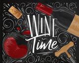 Poster wine time black - 193045061