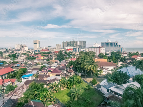 Aerial cityscape of Balikpapan city