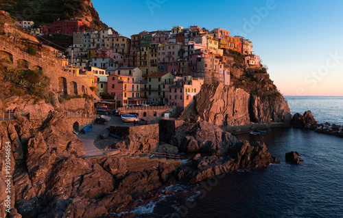Foto op Aluminium Liguria Manarola La Spezia city with small villages at sea view, Italy