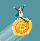 Bitcoin Crypto Currency Growth Chart Business Upward Trend Concept Cartoon  Illustration Wall Sticker