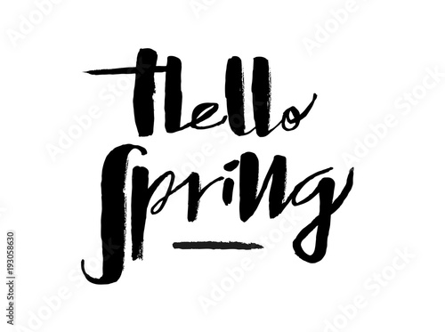 canvas print picture Hand drawn Hello Spring lettering typography poster. Celebration quotation for postcard, icon, card, logo, badge, invitation, poster, banner template lettering typography. Seasons Greetings.