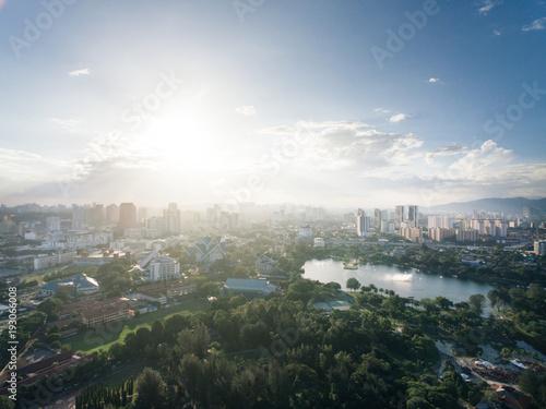 Staande foto Kuala Lumpur aerial view of Titiwangsa lake with evening sunlight located in Kuala Lumpur, malaysia
