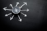 Direction of movement, travel direction. Compass among the arrows on black background top view copy space - 193068669
