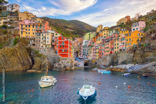 Fotobehang Liguria Riomaggiore, the first city of the Cique Terre in Liguria, Italy