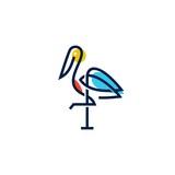 stork logo colorful line art monoline outline vector illustration download