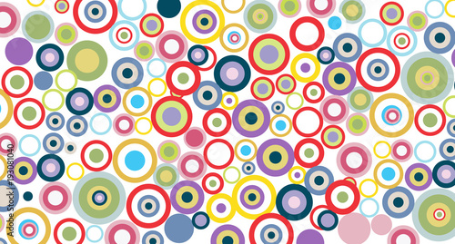 Digital vintage painting. Abstract geometric colorful vector banner and background. Colorful circles