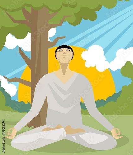 yoga lotus flower posture meditating man