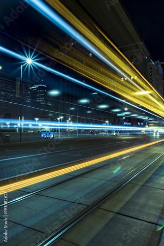 Deurstickers Nacht snelweg City Light Trails