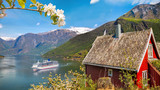 Red cottage against cruise ship in fjord, Flam, Norway - 193086264
