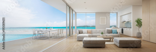 Leinwandbild Motiv Sea view kitchen, dining and living room of luxury beach house with terrace near swimming pool in modern design. Vacation home or holiday villa for big family. Interior 3d illustration