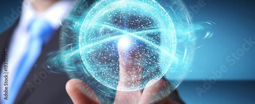 Foto Murales Businessman using digital network connection sphere 3D rendering