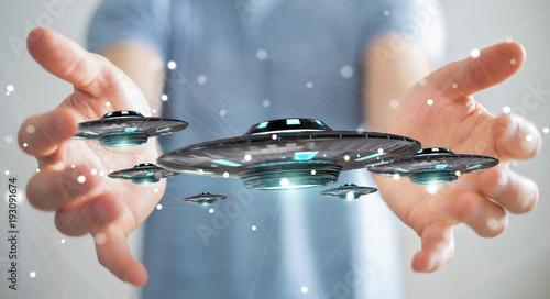 Papiers peints UFO Businessman with retro UFO spaceship 3D rendering