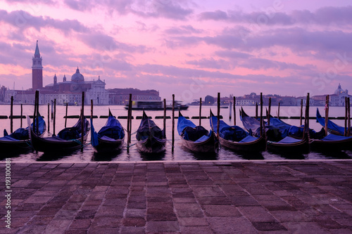 Venice gondola city view at sunrise