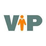 Icono plano VIP con hombre de negocios en gris y naranja