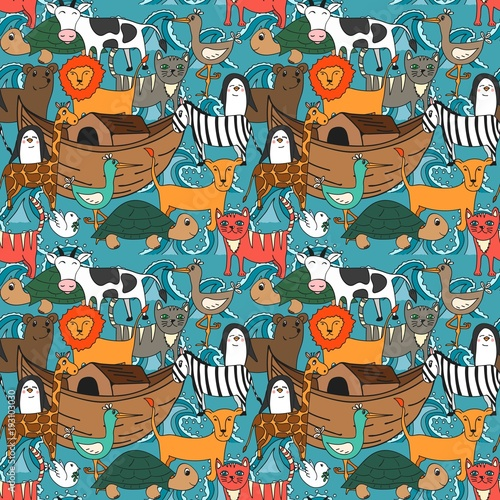 Fototapeta Vector seamless pattern with Noah's Ark concept, Bible story for kids, cartoon vector ornament
