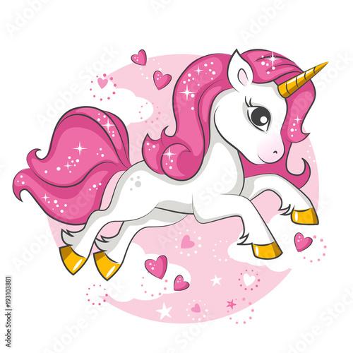 Fototapeta Cute little pink magical unicorn. Vector design on white background. Print for t-shirt. Romantic hand drawing illustration for children.