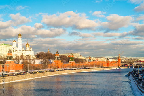 Aluminium Moskou Sunset over the Moscow Kremlin and river in Russia